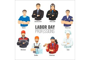 Labor day promotional poster with popular professions set