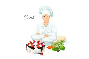 Cook in uniform with delicious cake and fresh vegetables