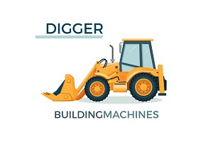 Modern solid building machine digger with spacious cabin