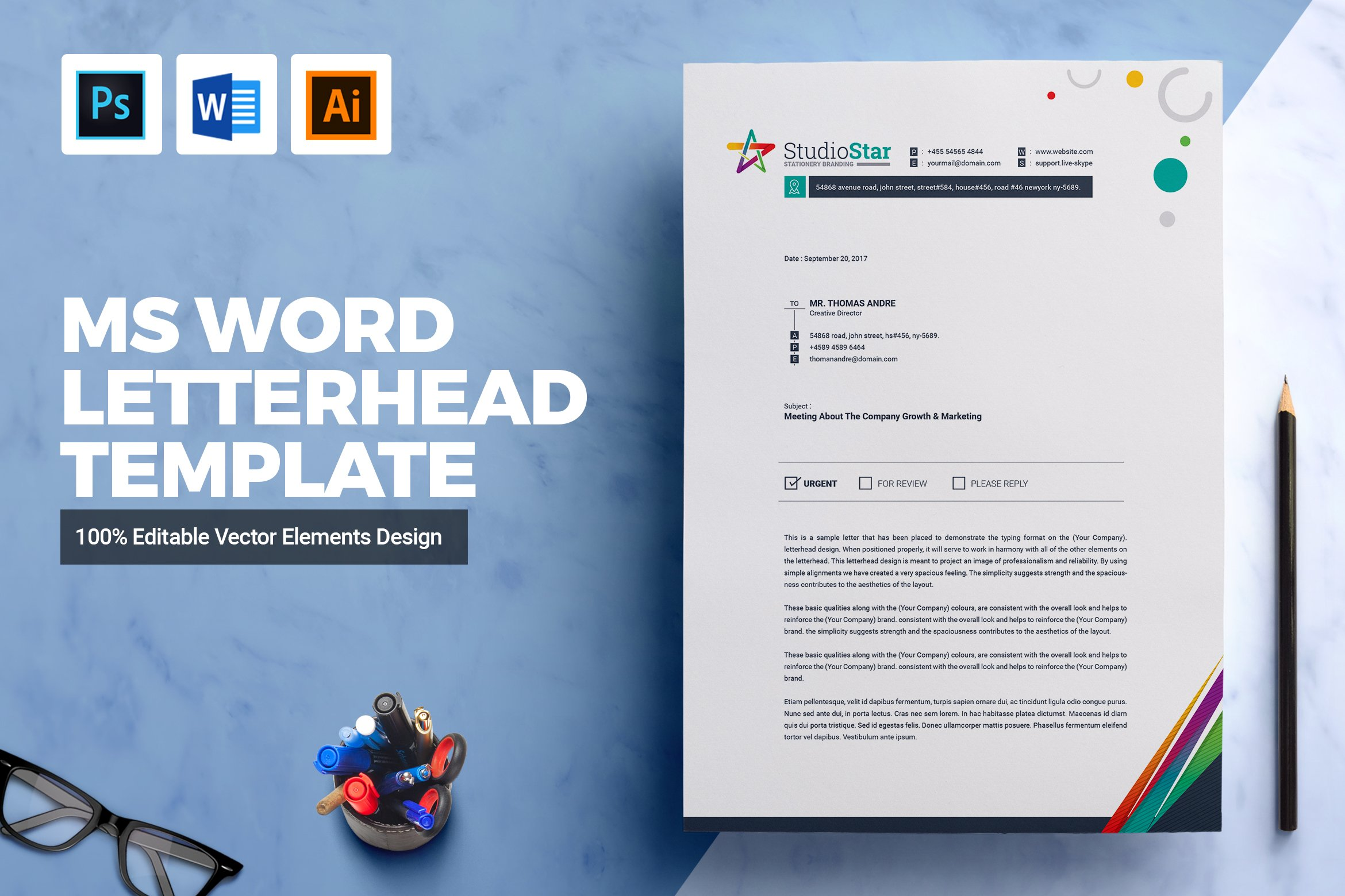 Ms word letterhead template stationery templates creative market spiritdancerdesigns Images