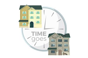 Process of house demolition symbolic illustration with clocks