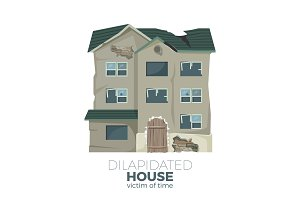 Dilapidated house as victim of time promotional poster