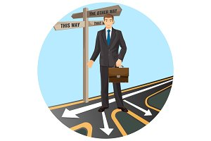 Businessman with leather briefcase that stands on crossroad