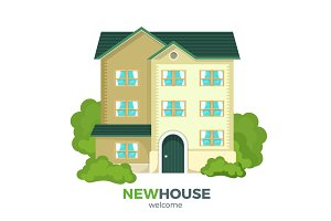 New multistorey house promotional poster with welcome sign