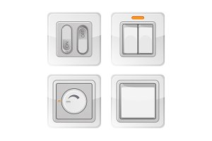Set of electric power switches with on off buttons, electrical wiring