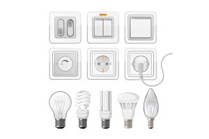 Set of light saving bulbs, electric switches, plastic dimmers
