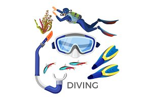 Diving accessories as silicon goggles, rubber tube, blue flippers,
