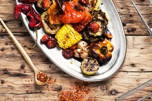 metal plate with grilled vegetables