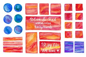 Blue & Red watercolor backgrounds