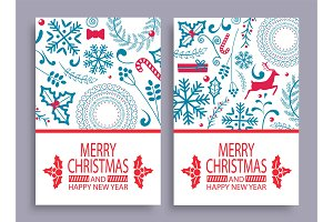 Merry Christmas Set of Covers Vector Illustration