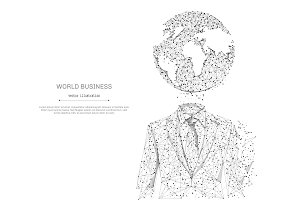 businessman in suit with planet black on white