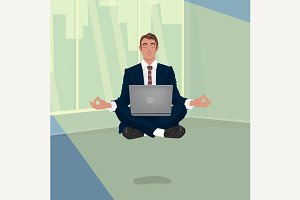 Businessman hovering in lotus pose