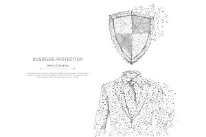 businessman in suit with shield black on white