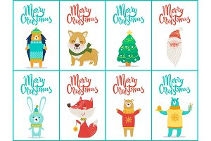 Merry Christmas Big Set on Vector Illustration