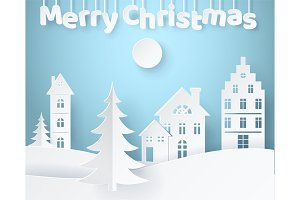 Merry Christmas Paper Poster Vector Illustration