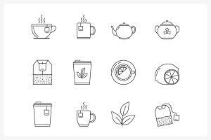 Tea Line Icons
