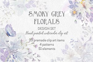 Smoky grey watercolor design set