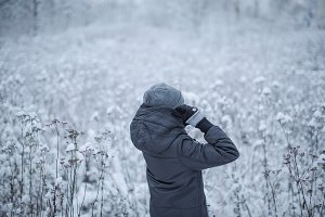 Girl in the snow field