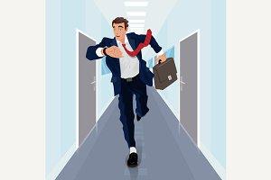Man runs forward along corridor