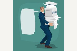 Businessman carries working papers