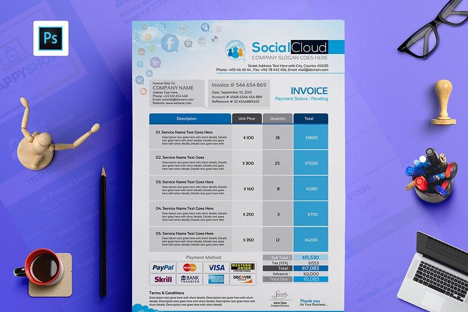 Social Media Agency Invoice Template Stationery Templates