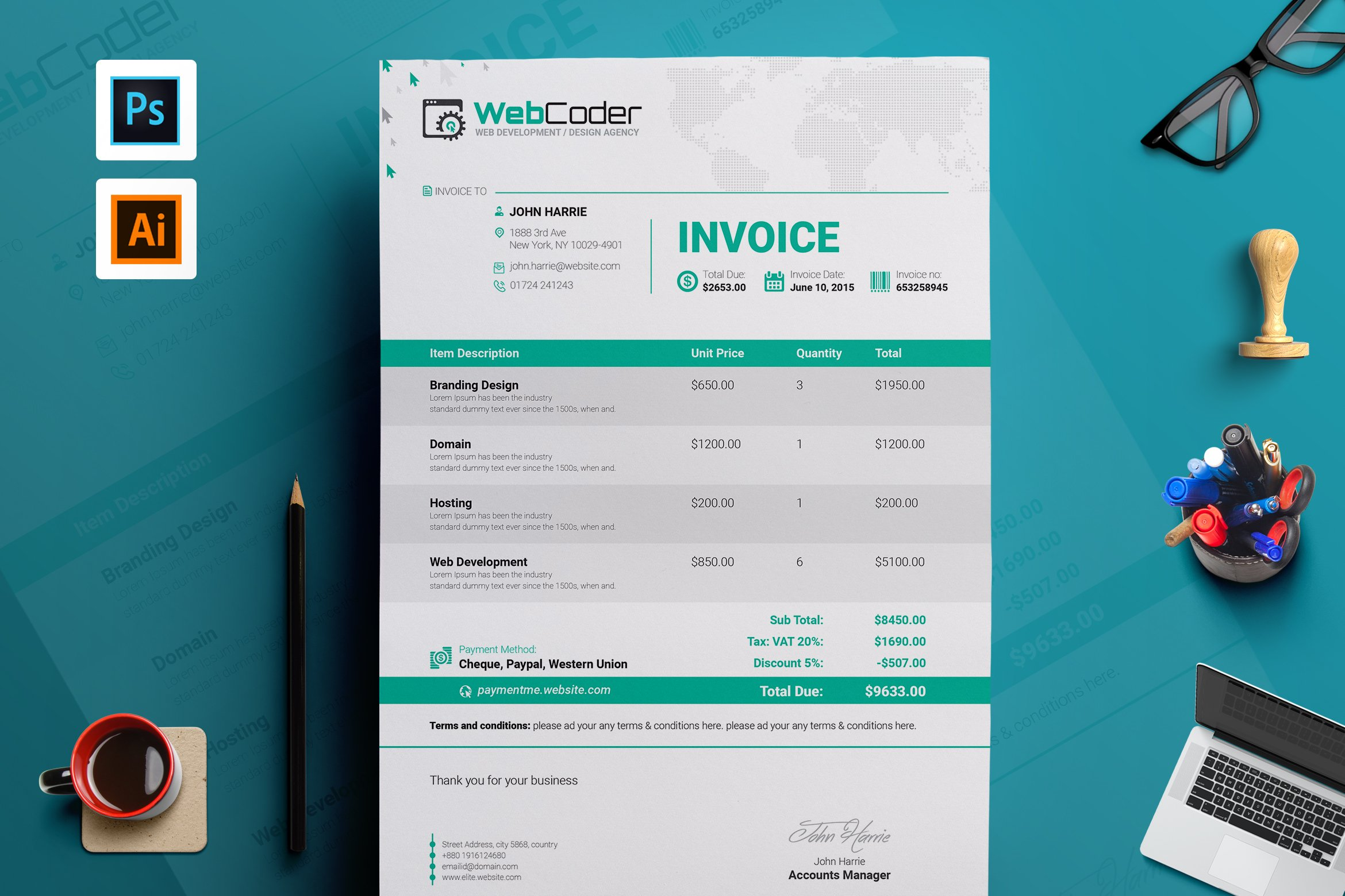 Simple Clean Invoice Template Stationery Templates Creative Market - Invoice design template