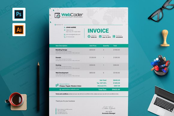 simple clean invoice template stationery templates creative market - Invoice Design