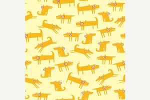 Dog pattern with yellow background