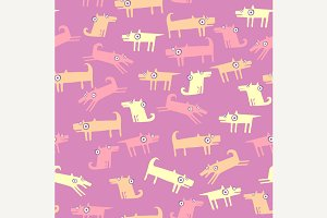 Dog pattern with pink background