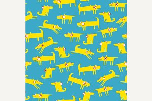 Dog pattern with cyan background