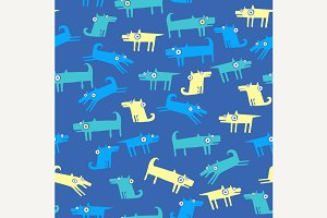 Dog pattern with blue background