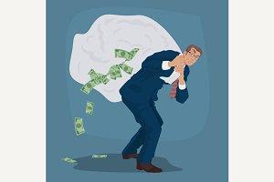 Businessman carries bag full of cash