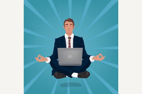 Calm Businessman In Lotus Pose
