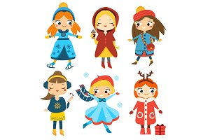 Winter kids. Cute girls activity