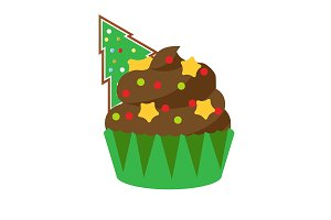 Christmas New Year cupcake