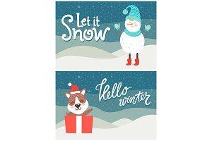 Let it Snow Hello Winter Bright Snowy Postcard