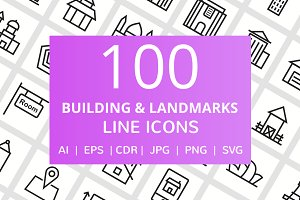 100 Building & Landmarks Line Icons