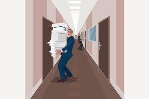 Employees carry documents in office