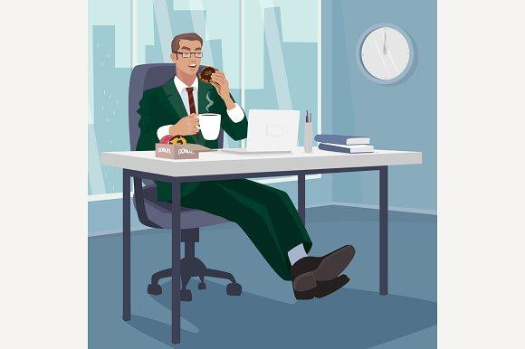 Employee Has Breakfast Donuts