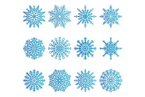Snowflakes Icons Collection Vector Illustration
