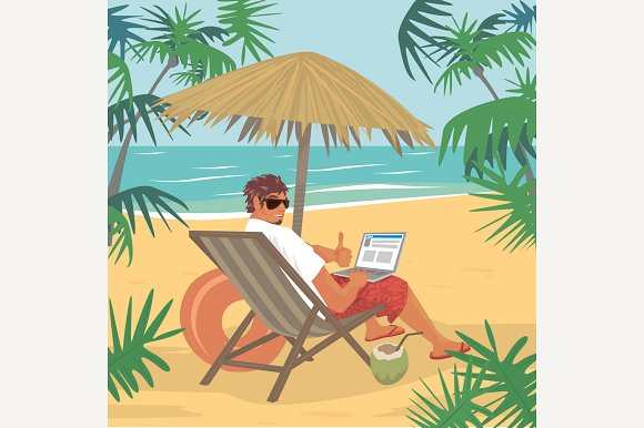 Man Sitting With Laptop On Beach