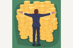 Businessman and lot of gold coins