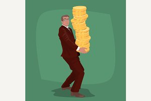 Businessman carries gold coins