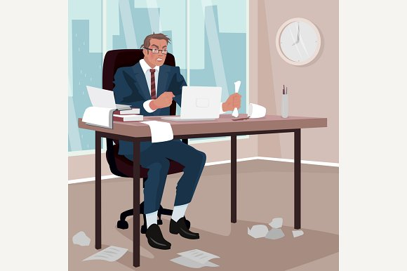 Furious Businessman In Office