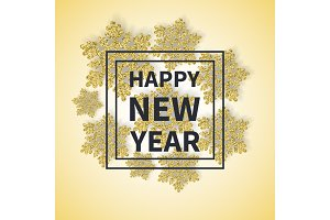 Happy New Year Inscription in Square Frame Text