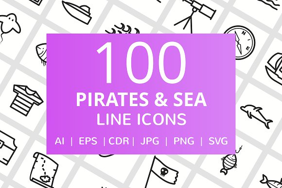 100 Pirate Sea Line Icons