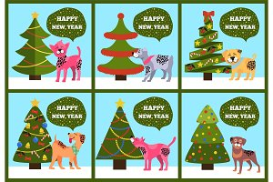 Greeting Cards on Green Merry wish Puppy Tree Set
