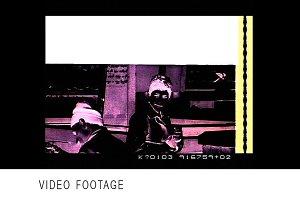 Negative 35mm film cuts, edits, blac