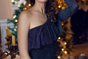young beautiful girl in a sparkly dress