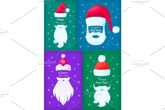 Happy New Year Santa Claus Caps and White Beards.